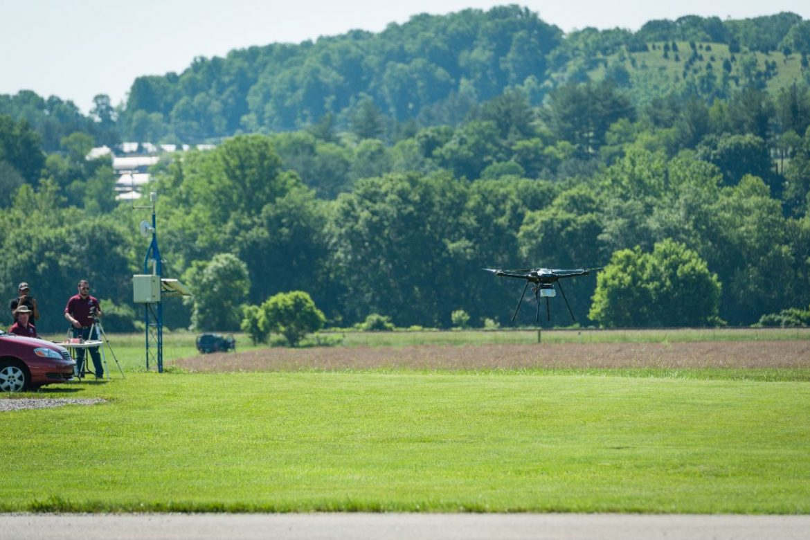 A quadrotor aircraft flown by the Virginia Tech Mid-Atlantic Aviation Partnership carries an airborne radar. Integrating radar data with traffic-management software (in this case, a platform created by ANRA Technologies) could allow aircraft to detect and avoid obstacles automatically during flight.