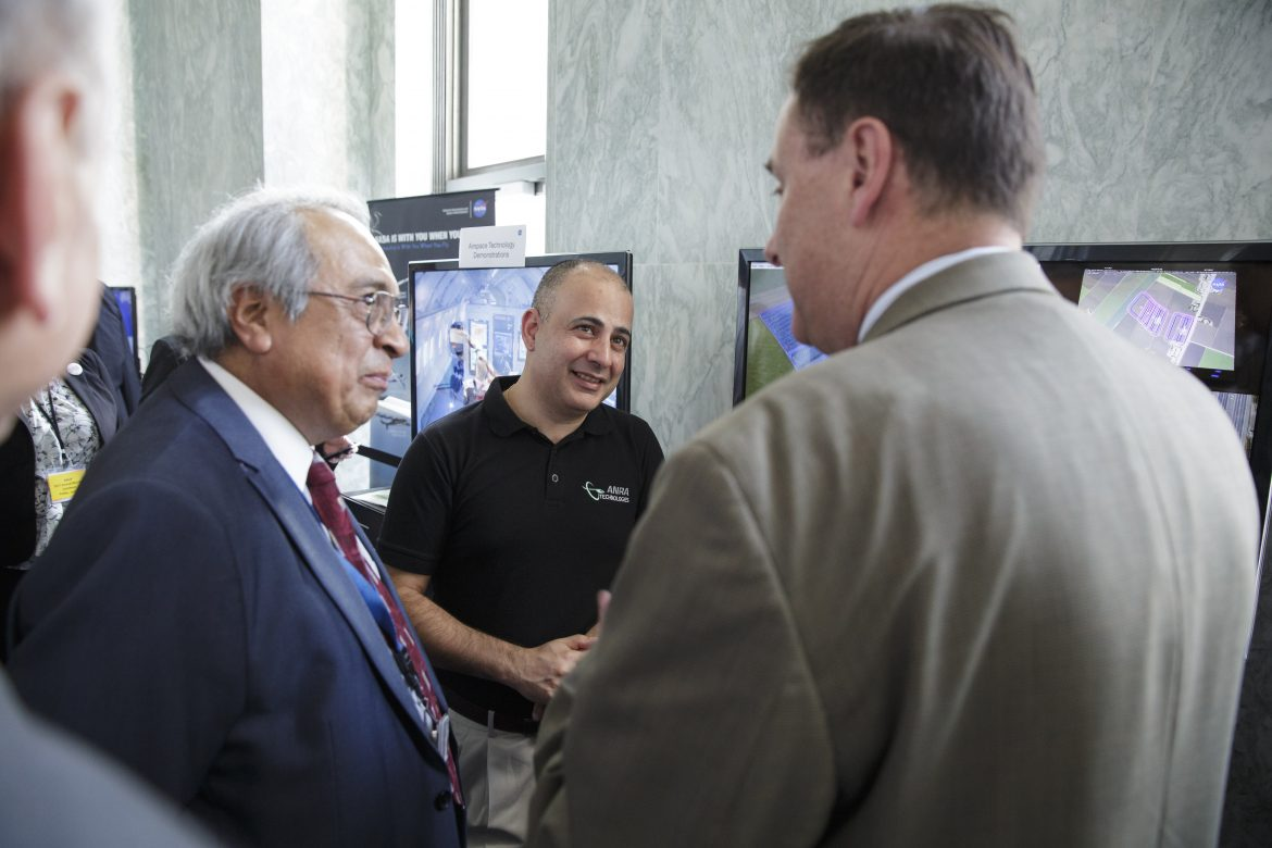 Acting NASA Administrator Robert Lightfoot views exhibits at NASA's Tech Day on the Hill, Thursday, June 15, 2017, at the Rayburn House Office Building in Washington.  Photo Credit: (NASA/Joel Kowsky)